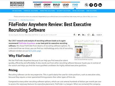 Business News Daily FileFinder Anywhere Best Executive Recruiting Software 2017